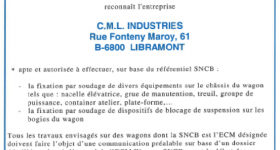 Certification CML Industries SNCB