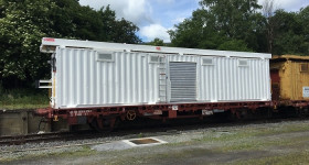 Container magasin sur wagon