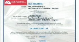 Certification CML Industries EN 15085